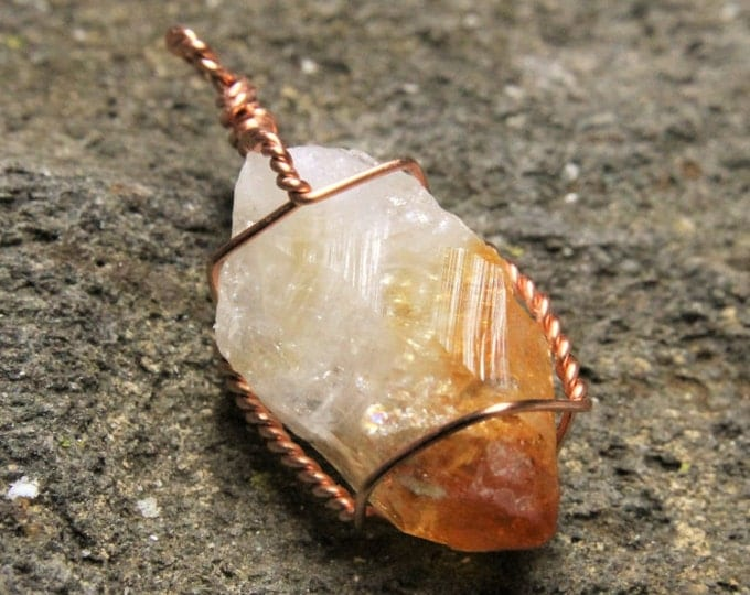 Citrine Crystal Tip / Copper Wire Wrap Pendant / Handmade Natural Stone Point Necklace / November Birthstone / Mens or Ladies Jewelry