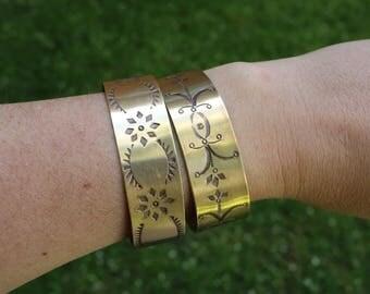 Hand stamped Brass Stacker Cuff Bracelet Southwest Design Large