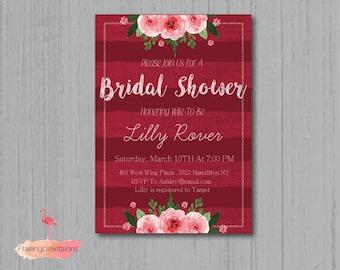 bridal shower, bridal shower invitation, red invitation, floral bridal shower invite, bridal shower DIY, invitation
