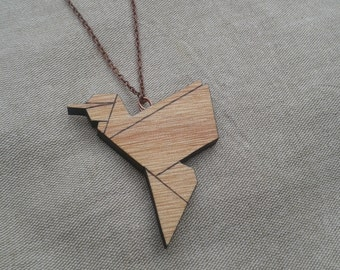 "Necklace pendant origami ""Colibri"", wooden, natural, design, sleek, woman gift, birthday, Christmas"