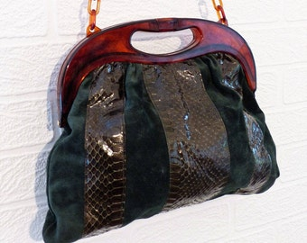 Green Suedette Handbag with Snakeskin style panels and brown plastic handles/chain strap /Retro Bag/Vintage Bag/1980s