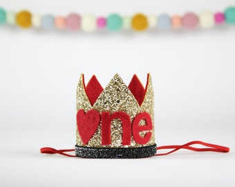 Valentines Day Birthday Party Crown | First Smash Cake Glitter Queen of Hearts Crown | 1st Birthday Photo Prop Hat | Gold + Red ONE