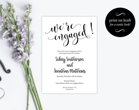 Engagement Party Invitation -  Wedding Template -  Engagement Invitation -  Printable Engagement Invitation - Downloadable Wedding #WDH0199