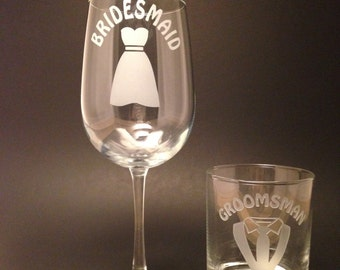 "Engraved ""Bridesmaid & Groomsman"" set"