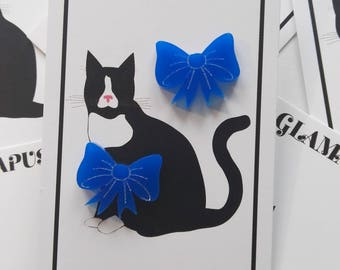 Blue Acrylic Bow Stud Earrings - Designed & Handmade in England