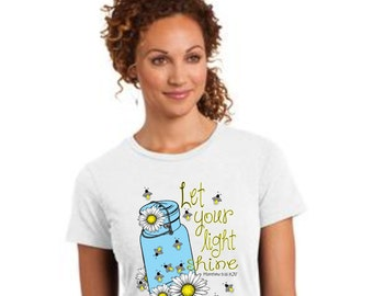 Women's Christian t shirt - Girls t shirt - Let your light shine