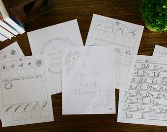 Handwriting Worksheets Practice Packet Letters, Flowers, and Leaves - 8 Pages