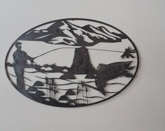 Fishing scene metal art, fish metal art, fishing metal art, fishing decor, fishing wall hanging