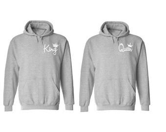New King Queen Hoodies Couple Sweaters Matching King Queen Pärchen Shirts King Queen Couple Gift Unisex King Queen Hoodie King Queen Pärchen