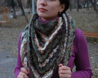 Crochet Shawl Knit Shawl Wool Shawl Romantic Shawl Triangle Shawl Warm Shawl Winter Shawl Autumn Shawl Crochet Scarf Knit Scarf Winter Scarf