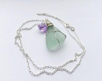 Sea Foam Sea Glass Necklace, Wire Wrapped Sea Glass Necklace, Sea Glass Necklace, Sea Glass Pendant