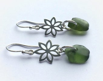 Olive Green Sea Glass Earrings, Sea Glass Earrings, Olive Green Sea Glass Earrings with Sterling Silver Fittings