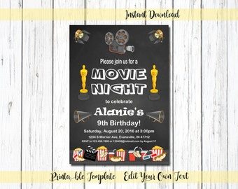 Movie Invitation, Movie Birthday Invitation, Movie Invite, Movie Night Invitation, Movie Party Invitation, Instant Download, 20004