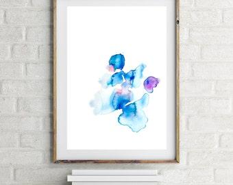 Minimalist, Abstract, Modern, Zen Art Wall Décor, Watercolors, Blue Modern Wall Art, Large Abstract Decor, Art Prints, Blue, Simple, White