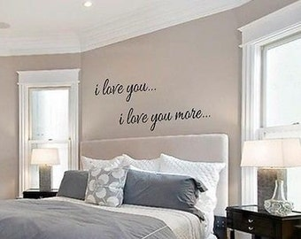 I LOVE YOU I Love You More Vinyl Wall Art Decal Words Lettering Decor Home Sticker Sticky Stencil
