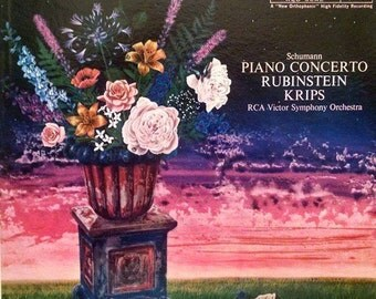 Free shipping! Schumann Piano Concerto LP w/ Artur Rubinstein, Classic 1959 Vintage Vinyl Record, fine condition, great classical music gift