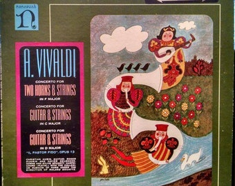Vivaldi Guitar Concertos, free shipping! Classic Nonesuch Vintage Vinyl 1960s Classical Record Album With Mod '60s Cover Art. Free shipping!