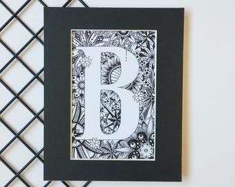 Personalised Letter Print, Nursery Art, Monogram Letter B,  Zentangle Art Print, Typography Print, Alphabet Art,