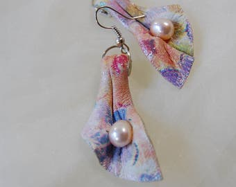 Stylish earrings earrings with pearls leather earrings Vintage earrings Statement earrings light earrings earrings made of print leather