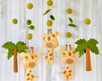 READY TO SHIP Baby mobile Safari Giraffe mobile Tropical animals mobile Crib Cot mobile Hanging mobile Safari baby shower gift Felt mobile