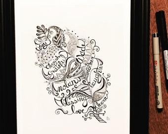 Custom Typography Feather