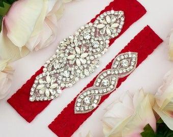 Red Wedding Garter, Red Bridal Garter, Garter Belt Red, Toss Garter, Keepsake Garter, Red Bridal Belt, Bridal Garter Belt, Red Garter 16-1A