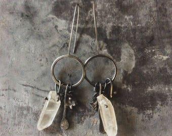 Raw Sterling silver Crystal earrings,Reticulated silver earrings,crystal cluster earrings,Sterling silver cluster earrings,raw silver,rustic