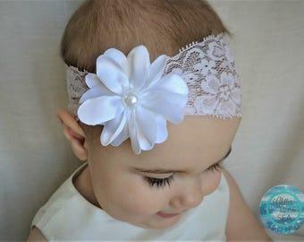 Baby Headband, Wide Headband, Lace Headband, Lavender Headband, Baby Girl Headband, Baby Hair Bow