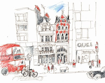 London Beautiful Views Greeting Cards and Posters. Central London Red Bus Greeting Card.