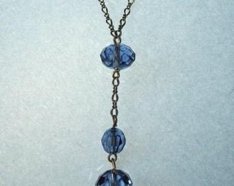 REDUCED: Blue Denim Swarovski Crystal Y-Shape Necklace