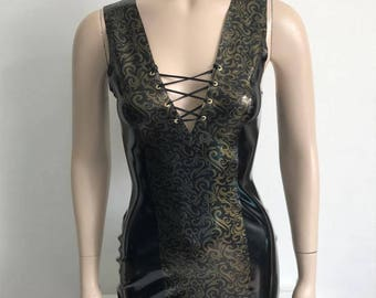 Black dress with gold detailing, size S