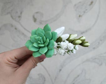 Green Succulent hair pin Gypsophila White freesia hair pin White Bridal flowers Wedding hair accessories Gift for her Bridesmaid hair pin