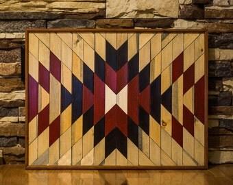 Aztec Wood Art, Lath Geometric Wood Art, Wooden Wall Art Hanging, Boho Wood Art, Wood Wall Decor