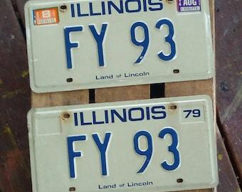 Vintage license plate, 1979 Illinois plates