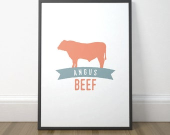 Modern Kitchen Art Print, Printable Kitchen Sign, Kitchen Decor, Angus Beef Print, Colorful Kitchen Poster, Instant Download, Digital Print