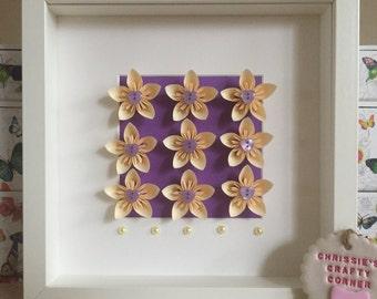 Forever flowers box frame, home decor, wall art, handmade flowers