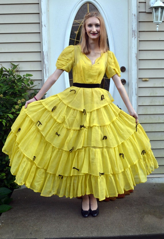 Sunflower Song Dress | vintage 30's ruffled rhinestone party dress