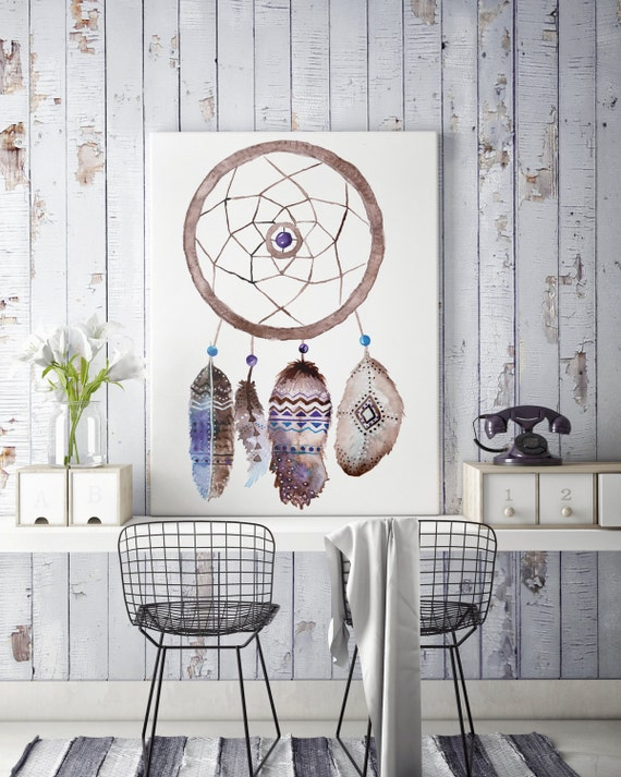 Boho dreamcatcher | Canvas art | Wall decor | Hippie art | Feathers | Dreamcatcher | Native americans art | art prints for sale | Watercolor