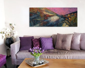 Landscape Painting, Oil Painting Original, Canvas Art Set, Abstract Oil Painting, Abstract Painting Pink, Blue Painting, Purple Painting