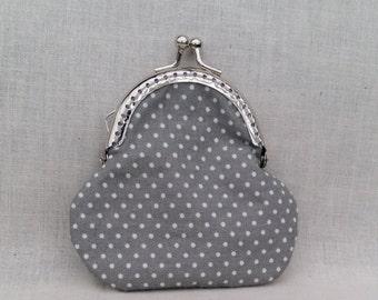 Grey Polka Dot Coin Purse/Change Purse