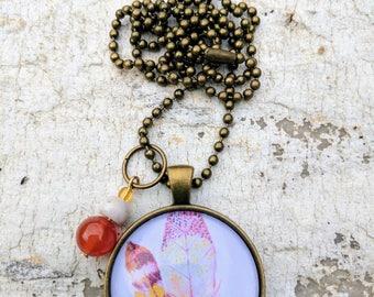 Round pendant. Bronze Pendant. Vintage feather. Carnelian. Semi-precious. Gift for her