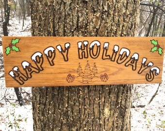 Happy Holidays Engraved Wood Sign, Christmas Gift Wood Sign, Custom Engraved Wooden Sign, Housewarming/Christmas Gift