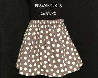 Toddlers Gray Print Skirt; Girls Gray Polka Dot Reversible Skirt; Gray, Black & Yellow Print Skirt; Polka Dot Skirt; Toddlers Skirt
