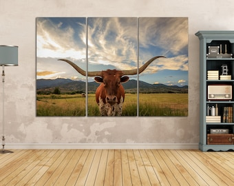 3 Panel Texas Longhorn Steer Leather Print/Extra Large Wall Art/Wild Animals Print/Multi Pieces Wall Art/Better than Canvas!