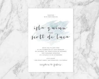 Modern Wedding Invitation Suite, Watercolor Wedding Invitation, Printable Wedding Invitation Set, Minimalist Wedding