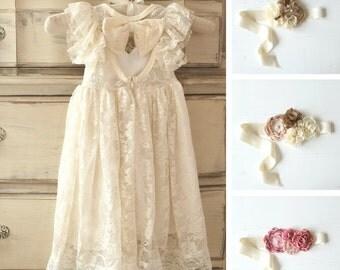 ivory flower girl dress, girls lace dress, country lace dress, rustic flower girl dress, long sleeve lace dress, boho flower girl dresses