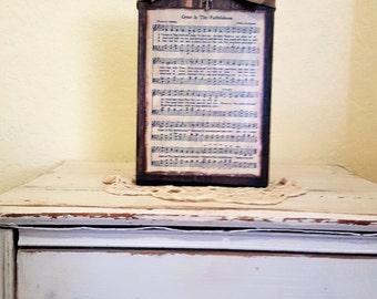 Wood Block - Faithfulness Hymn Block - Rustic hymn Block - Distressed Block, Burlap Jute Bow - Housewarming Gift