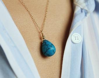 Turquoise Pendant, December Birthstone Necklace, Gold Turquoise Necklace, Sagattarius Birthstone, Sagattarius Necklace, Dainty Gold Necklace
