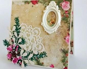 Shabby floral card, 3D Christmas card, Retro seasonal card, Card for her, Shabby winter decor, Roses holiday card, Cottage chic card