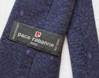 Tie, tie Paco Rabanne, crepe silk, silk, Paris, Made in France, mauve, purple, Floral, polka dot, polka, vintage